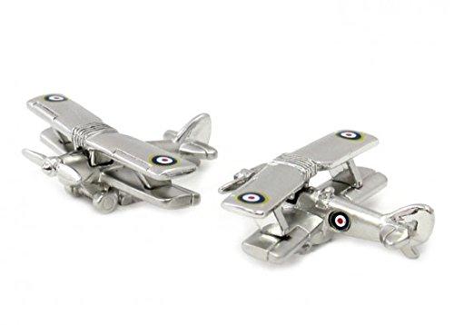 Gemelolandia   Gemelos Avion Biplano 3D con Escarapela RAF Gemelos Originales Para Camisas   Para Hombres y Niños   Regalos Para Bodas, Comuniones, Bautizos y Otros Eventos