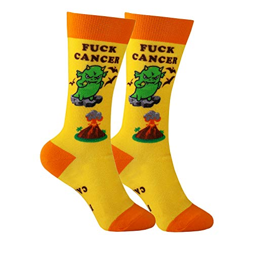 Cancer Gift Socks - Cancer Sucks Awareness Apparel Chemo Patient Support (Yellow F Cancer)