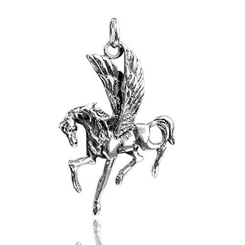 MATERIA Schmuck 925 Silber Kettenanhänger Pegasus - Silber Anhänger Pferd mit Flügeln antik #KA-128
