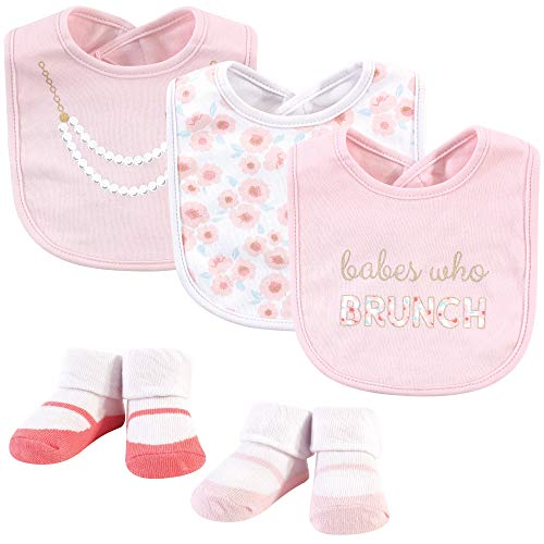 Little Treasure Baby Girl Bibs & Socks Set, 5pc