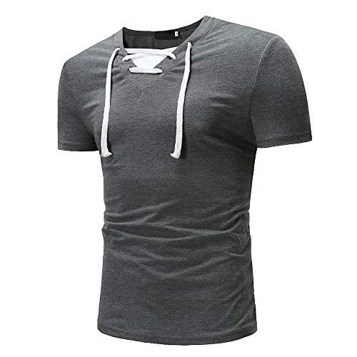 Shirt Deportiva Hombre Manga Corta Ajustada con Cuello En V con Cordones Hombre T-Shirt Botones Empalme Hombre Shirt Color Sólido Tendencia Moda Verano Hombre Shirt Ocio D-Gray(A) XXL