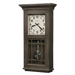 Howard Miller AmosWall Clock625-669 –Aged Auburn Finish, Natural Reclaimed Wood Design, Vintage Home Decor, Quartz Single-Chime Movement, Automatic Nighttime Chime Shut-Off