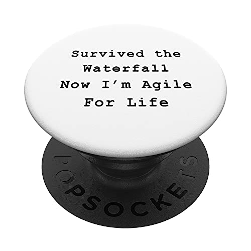 Survived Waterfall Agile Project Management Funny PM Coach PopSockets PopGrip Intercambiable