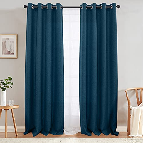 jinchan Moderate Room Darkening Curtains for Bedroom 84 inch Long Linen Like Textured Curtain in Blue One Panel