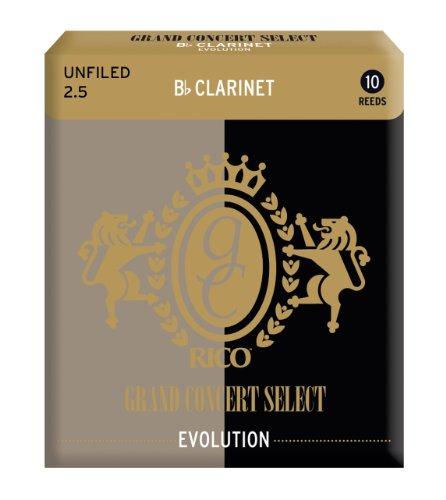 Cañas para clarinete en Si bemol Rico, serie Grand Concert Select Evolution, resistencia de 2.5, paquete de 10