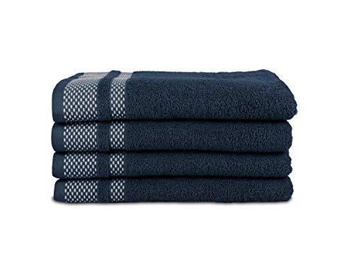 jilda-tex Handtuch Duschtuch Frottierware Set 100% Baumwolle Verschiedene Größen/Farben (2 x Handtuch + 2 x Duschtuch, Dunkelblau)