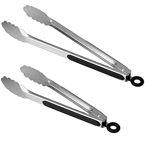Lyxa SR Set of 9-inch and 12-inch Stainless Steel Kitchen Tongs with Locking, Metal Cooking Tongs with Non-Slip Grip,Perfect for Grilling, Barbecue (BBQ) and More (9' & 12')