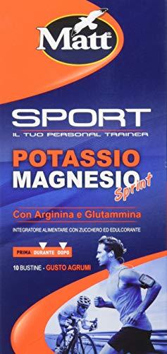 Matt Sport - Potassio Magnesio Sprint con Arginina e Glutammina - Integratore Alimentare per Attività Fisica - 2 confezioni da 10 Bustine - Gusto Agrumi