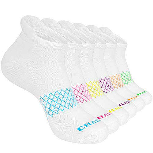 Chalier 6 Pairs Ankle Socks Womens Low Cut Athletic Cotton Performance Comfort Cushioned Running Socks Gifts,Off White