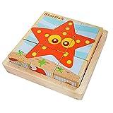 Puzzles de Madera Educativos para Bebé,Juguete Educativo Montessori,Juguetes Rompecabezas de Cubos de Madera,Bloques de Rompecabezas de Animales,para 1 2 3 4 años Niños (Oceano)