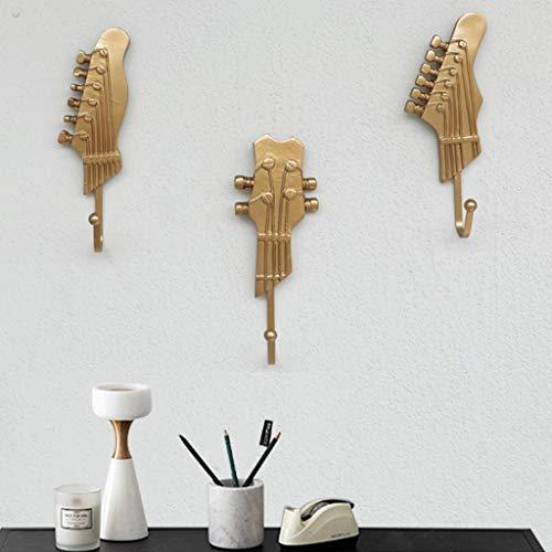 Un Conjunto De Tres Ganchos De Guitarra De Europeo, Ganchos para Abrigos, Ganchos Individuales Ganchos con Forma De Guitarra Musical Perchero De Pared Pinzas De Madera Acabado Rústico