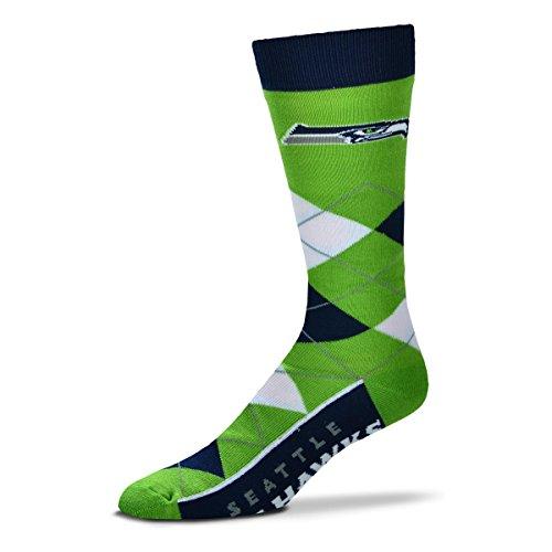 For Bare Feet Erwachsene NFL Argyle Crew Socken – Einheitsgröße, Unisex-Erwachsene, Seattle Seahawks, Einheitsgröße