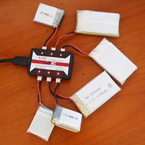 DDyna Caricabatterie, Hotrc A100 Caricabatteria Lipo 6 in 1 da 3,7 V con Protezione da sovratemperatura per Hubsan X4 Q4 H107L H107C Wltoys (Nero)