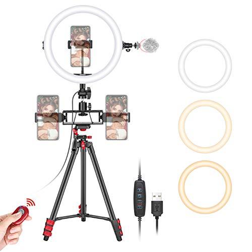 Neewer 10' Selfie Anillo Luz con Trípode 3 Soportes para Teléfono Anillo de Luz LED con Tubo Suave y Kit Remoto 3 Luces de Modo y Brillo de 10 Niveles para Maquillaje Video Youtube TikTok Transmisión
