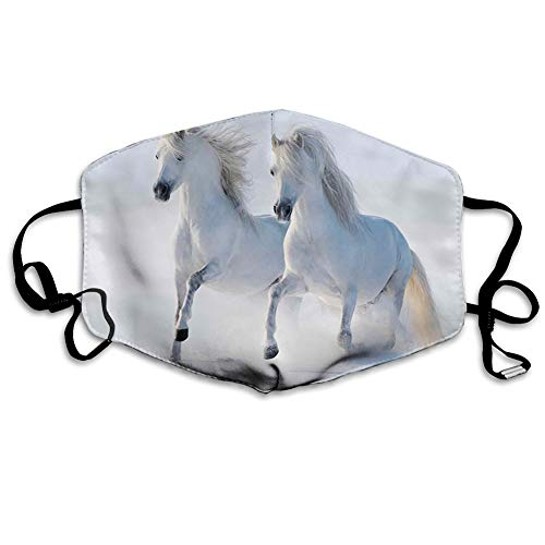 Reusable half bandanas M-shaped nose clip,Galloping Noble Horses on Snow Field Purity Symbol Animals Equestrian Theme,breathable sports mouth cover