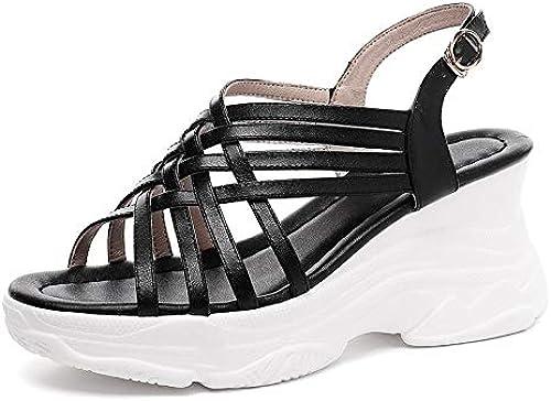 HommesGLTX HommesGLTX 2019 New Hot Summer Dad Chaussures Fille Plateforme Sandales en Cuir Véritable Grand Taille 33-42 Confort Compensées Chaussures Femme  bénéfice nul