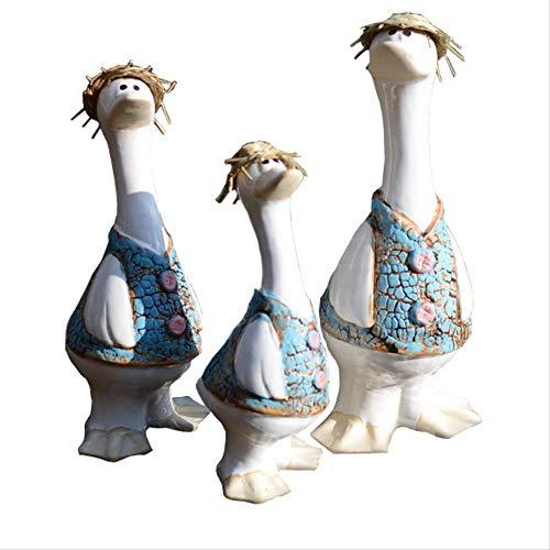 ZAAQ Home Decor Ornament Figurine Ceramic Duck Outdoor Animal Statue Decor Garden Decoration for Lawn and Yard 3 Pcs
