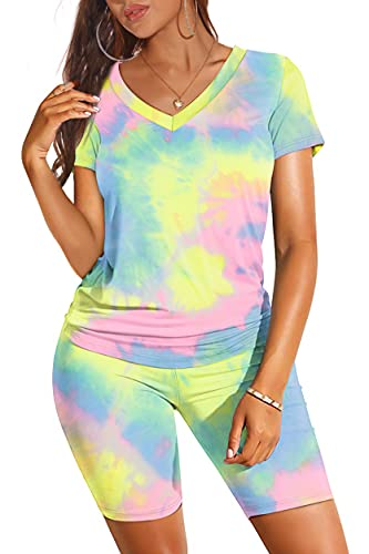 Cute 2 Piece Outfits for Women Short Sleeve Summer Clothes Iridescence M