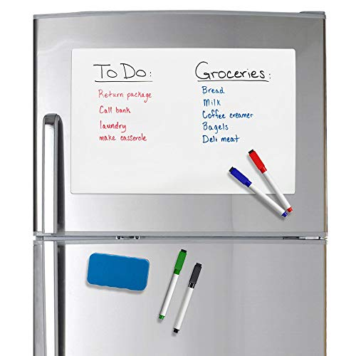 "Officeline Magnetic Dry Erase Whiteboard 17"" X 11"" Sheet for Refrigerator with Stain Resistant Technology. Set of 4 Magnetic Markers and a Big Magnetic Eraser. Ships Flat, Never Rolled!!"