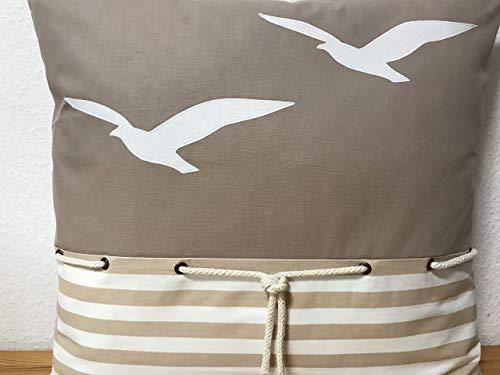1 Maritime Kissenhülle, Landhausstil Kissenhülle, Kissenbezug, Dekokissen, Möwen beige/weiß