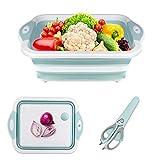 Gintan Schneidebrett Küche 3 in 1 Faltbare Schneidebret Kunststoff, Tragbares Schneidebrett Frühstücksbrettchen mit Multifunktionale Schere Faltbare Küchenbrett für Küche,Obst,Gemüse (Blau)