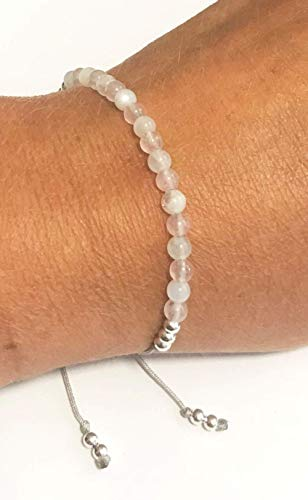 KARMA GEMS Rose Quartz & Moonstone Yoga Balance Reki Friendship Bracelet