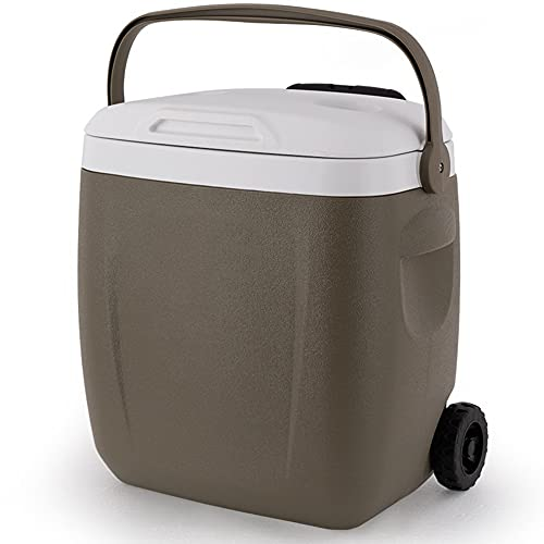 YYGG Nevera Portátil con Ruedas, Caja Térmica de 26 l de Capacidad, Nevera para Camping, Playa y Picnic