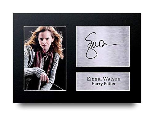 Marco con fotografía y autógrafo impreso de Emma Watson, tamaño A4,