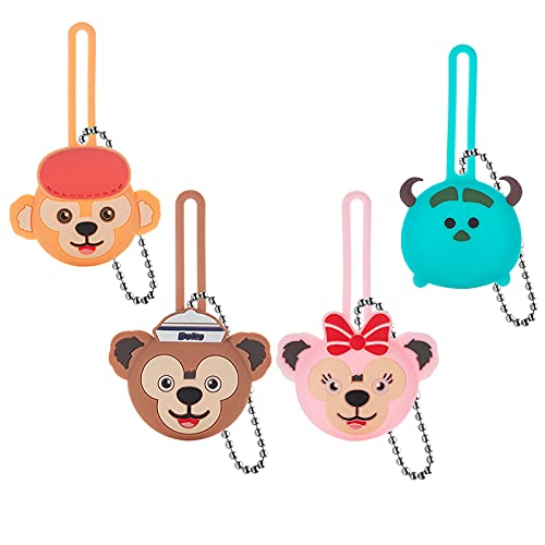 Compatible with AirTags Case Keychain Airtags Holder Cute Cartton AirTag Key Ring Cases Air Tags Protective Cover Airtag Key Chain Loop Holders Silicone for Child Luggage Dog Cat Pet Collar 4 Pack