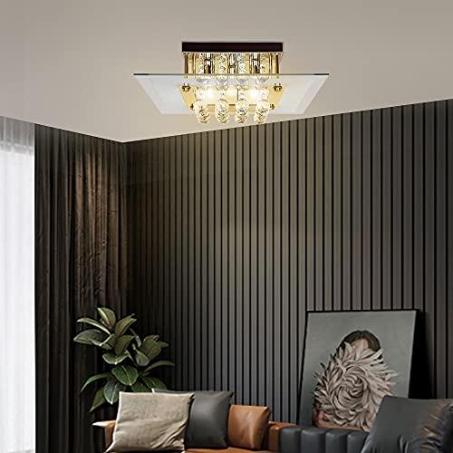 HOMCOM Lámpara de Techo de Cristal K9 para Bombillas G9 Máx. 40W Lámpara de Cristal Moderna para Dormitorio Salón Acero Inoxidable 40x40x16 cm