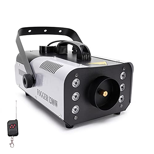Fog Machine, HOLDLAMP 1200W Smoke Machine with Wireless Remote Control and 6 Colorful LED Lights for Christmas Halloween Wedding Stage Effect DJ Disco Party Stage