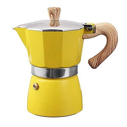 GZA Aluminio Italiano Moka Espresso Máquina De Café Filtro De La Estufa 3 Tazas (Color : Yellow)