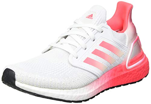 adidas Ultraboost 20 Shoe for Running Jogging on Road or Light Trail with Neutral Support for Woman White Pink 4.5 UK