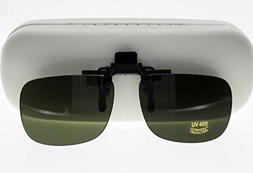 Montana Eyewear zonnegordijn/brillenclip voor brillen om omhoog te klappen met groen getinte glazen