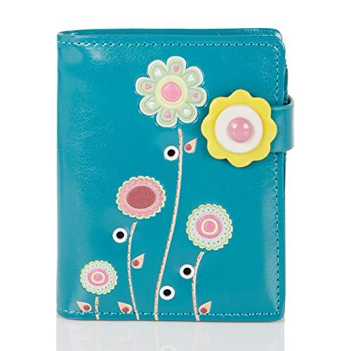 Shagwear Portemonnaie Geldbörse für junge Damen, Mädchen Geldbeutel Portmonaise Designs:, Bunter Garten Türkis / Colorful Garden, SM