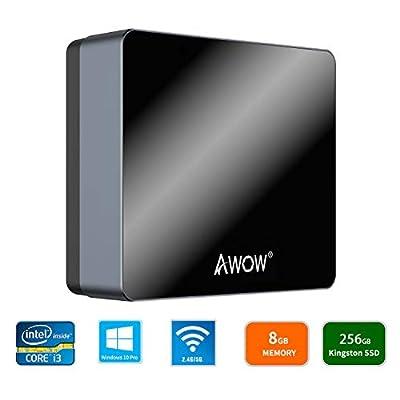 "AWOW NYi3 Mini PC Intel Core i3 Windows 10 Pro Mini Desktop Computer 8GB DDR/256GB SSD/4K/Dual-Band Wi-Fi/Gigabit Ethernet/Dual HDMI/2.5"" HDD"