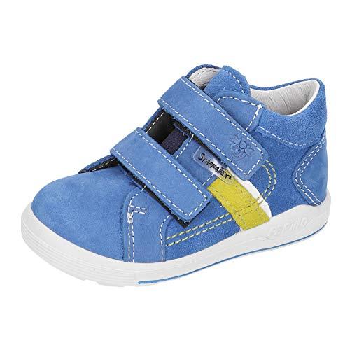 RICOSTA Kinder Stiefel LAIF von Pepino, Weite: Weit (WMS),wasserfest, verspielt detailreich Freizeit Boots Klettstiefel Leder,Azur,27 EU / 9 Child UK