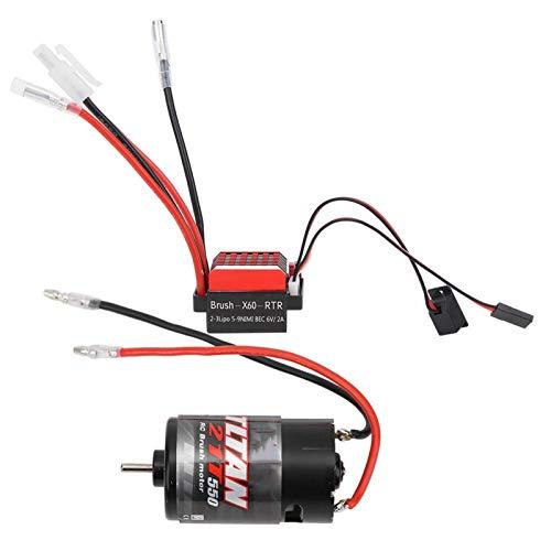 Dilwe ESC RC Brushed Motor, 360A Brushed Electronic Geschwindigkeitsregler + 550 Brushed Motor 1:10 RC Car Upgrade Ersatzteil(21T)