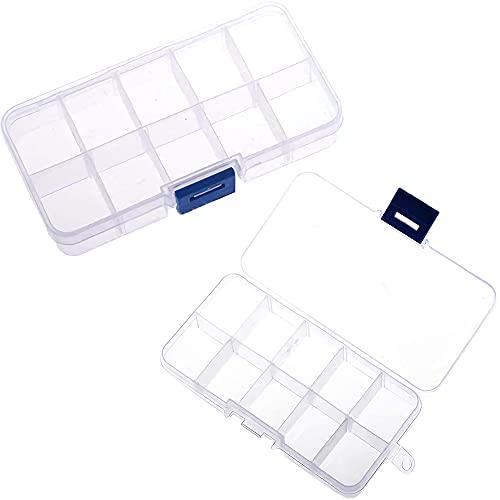 2 Piezas Cajas de Almacenamiento de Cuentas, Caja Compartimentos Plastico, organizador de cuentas, 10 Cuadrículas Ajustables Caja Organizadora para Joyería, Abalorios, Pequeños Accesorios (Blanco)