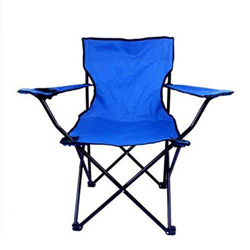 Para adultos silla que acampa silla del acoplamiento Volver dispositivo portátil sillón con la bebida de jardín plegable Silla de playa de una sola pieza con brazos blue-50 * 50 * 80CM