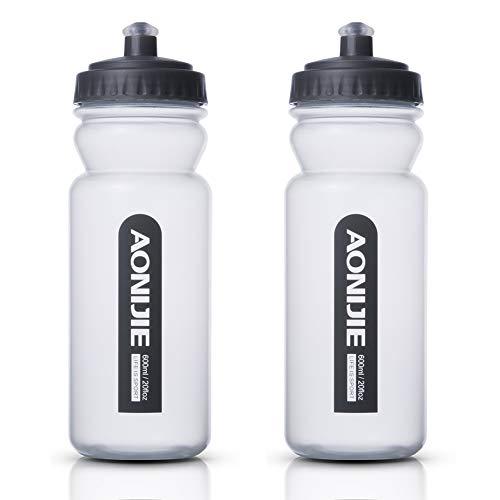 Paquete de 2 botellas de agua Sports 600 ml,botella de gimnasio Tritan sin BPA y botellas de beber,a prueba de fugas,tapa abatible con un solo clic niños,adultos,gimnasio,deportes al aire libre