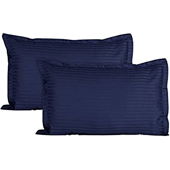 Trance Home Linen 100% Cotton Pillow Covers (18X28-inch, Navy Blue) - Pack of 2
