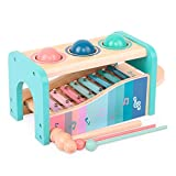 wooden baby slide - Arkmiido Pound A Ball Toy with Slide Out Xylophone Wooden Educational Pounding and Hammer Montessori Musical Toys for Toddlers 1 - 4 Years Old (Large)