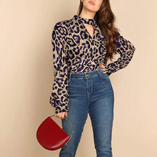 Buy Women Pullover Long Sleeved Leopard Chocker Neck Pullover Top Sexy Fall Top