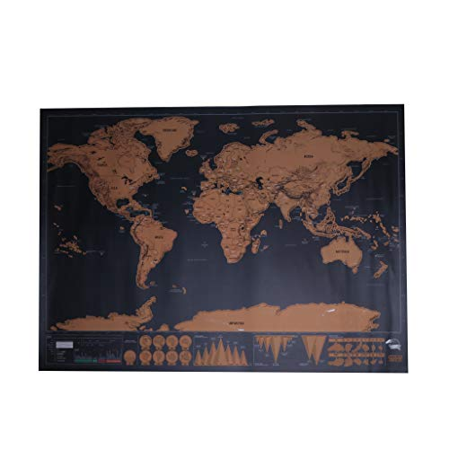 VAILANG World Map Travel Edition Deluxe Scratch Map