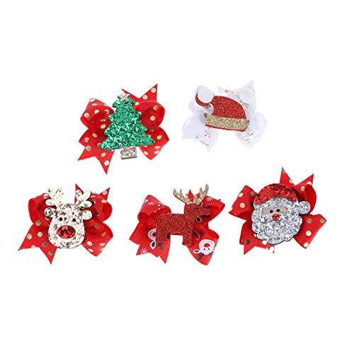 Lurrose 5pcs glitter pinzas para el cabello de navidad cintas de navidad cintas para el sombrero de santa renos...