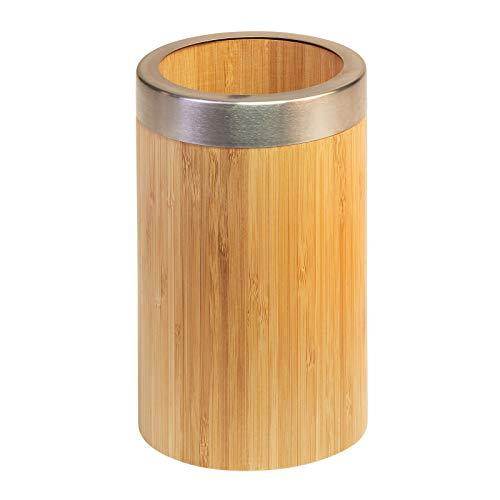 Westmark Soporte para utensilios/organizador de cocina, Redondo, Con borde de acero inoxidable, Dimensiones diámetro10 x 16 cm, Bambú/acero inoxidable, Tapas Friends, Marrón claro/plata, 69852270