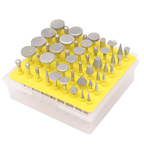 50Pcs Diamond Burrs, 3/8'Shank Diamond Burr Set Rotary Tool Grinding Wheel Head Lapidary Burr Drill Bits For Stone, ceramics, glass, cemented carbide, gemstone processing and other fields