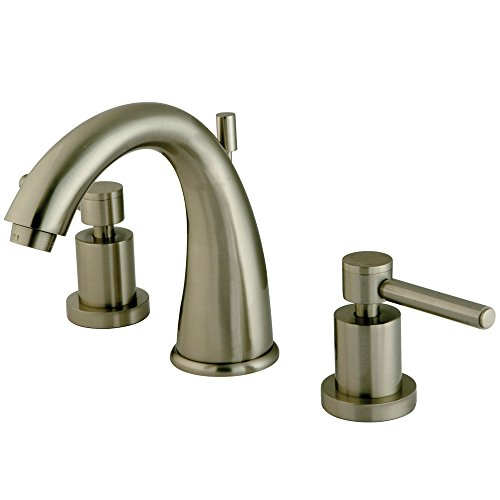 """NUVO ES2968DL Elements of Design South Beach 8"""" to 16"""" 2-Handle Widespread Lavatory Faucet with Brass Pop-Up, 5-1/2"""", Satin Nickel"""
