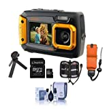Coleman Duo2 2V9WP Rugged Dual Screen Waterproof Camera, 20MP, Waterproof, Dust/Freeze Proof, Orange - Bundle with 16GB MicroSDHC Card, Floating Foam Strap, Memory Wallet, Table Top Tripod, and More
